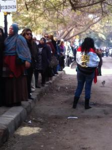 A female 'Yes' voter wrapped in Egypt's flag as she waits her turn outside the polling station